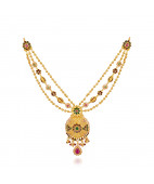 Stylish Multi Colour Stones Studded Designed Gold Necklace