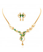The Enameled Leaf Trendy Floral Gold Necklace