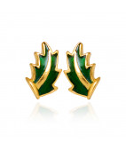 Green Leaf  Stud Earrings