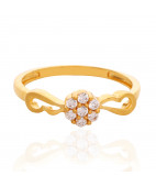 Seven Stone Studded Gold Ring