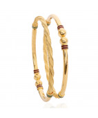 Balls Finished Twisted Rope Gold Bangles