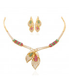 Stone Feather Gold Necklace Set