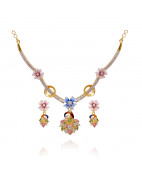 Stylish Peacock Hanging Flower Gold Necklace