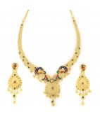 Beautifully Enameled Peacock Filigree Necklace Set