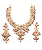Real Ruby and Emerald Beaded Bridal Necklace Set