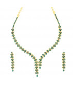 Emerald Two Strand Drop Necklace Set