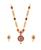 Madagascar Ruby and Uncut Diamonds Studded Bridal Necklace Set