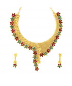 Red and Green Primrose Flower Neck Set
