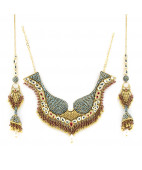 Jodha Akbar Uncut Diamond Necklace with Jhumkis