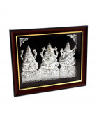 Beautiful framed silver Lakshmi, Saraswathi, Ganesha Photo