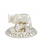 Solid Silver Cow and Lamb Vigraham