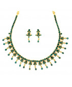 Emerald Necklace Set with pear-shaped drop