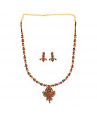 Fire and Earth  Ruby & Emerald Necklace Set