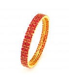Broad Australian Red Rubies Studded Bangle