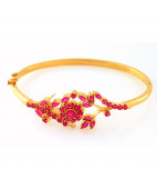 Australian Red Rubies Hinge Bangle
