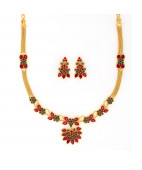 Traditional Ruby and Emerald Necklace Set