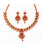 African Rubies Studded Necklace Set