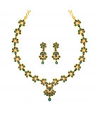 Traditional South Indian Emerald Necklace Set