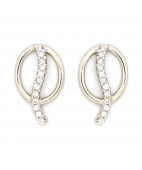 Round Diamonds Studded Platinum Q Earrings