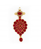 Round Australian Red Rubies and Uncut Diamonds Studded Pendant