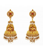 Antique Style Jhumkas with Pearl Beads