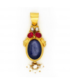 Antique Ruby Pendant with Center Neelam - Blue Sapphire