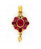 Antique Ruby Pendant with uncut Diamonds