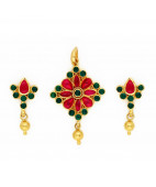 Mozambique Red Ruby & Emerald Antique Pendant Set