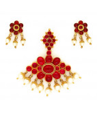 Traditional South Indian Ruby Pendant with Ear studs