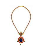 Neelam Blue Sapphire Pendant surrounded by Uncut Diamonds and Rubies
