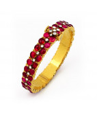 Antique Kempu Stones studded Bangle with uncut diamonds