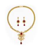 Uncut Diamond Necklace set with Pear Shaped Ruby Drop