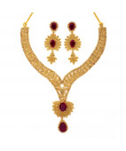 Polki Diamond Indian Bridal Necklace Set with Pear Shaped Ruby Drop