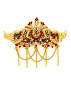 Ruby, Emerald & Zircon Peacock Bridal Armlet - Vanki