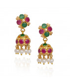 Pearl Beads With Ruby & Emerald Gold Jimmiki