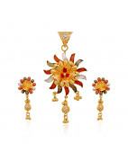 Shiny Sun With Flower Gold Pendant Set