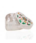 Beautifully Enameled Silver Kumkum Box