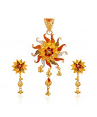 22KT Shiny Sun With Flower Gold Pendant Set