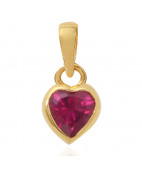 Heart Shaped Ruby Red Stone Pendant