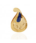 Enameled Blue Flower GoldPendant Set