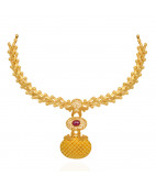 Centered Red Stones Studded Beautiful Gold Necklace
