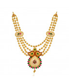 Beautifully Red & Green Stones Studded Gold Balls Necklace