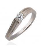 Platinum Band With Tension Setting Ring