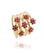 Red Spiral Gold Ring
