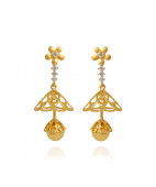 Flower Chandelier Stone Studded Gold Earrings