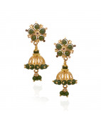 Elegant Emerald Ball Drops With Hanging Gold Jimmiki