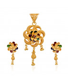 Elegant Colour Flower With Dancing Balls Gold Pendant Set