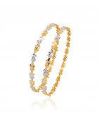 Two Tone Diamond Shape Gold Bangle