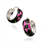 Enameled Sterling Silver Bali Hoop Earrings