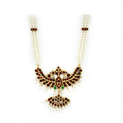 Three Strand Natya Muthu Maalai with crafted Pendant